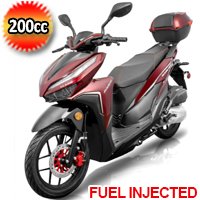 200cc 4 Stroke EFI Gas Moped Scooter W/ LED Lights - CLASH 200