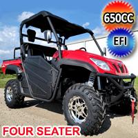 650cc 4x4 UTV 4 Seater Golf Cart Contender Edition Utility Vehicle EFI W/Upgraded Rims & Rear Seat - Comrade 650