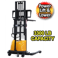 "Apollo Powered Lift & Lower Straddle Stacker 3300lbs Capacity - 98"" lifting - CTD15B-E-2.5M-II"