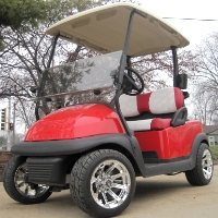 Candy Apple Red Club Car Golf Cart With Custom Rims & Red/White Seats