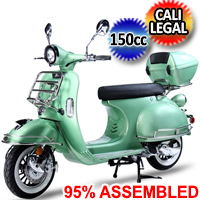 New 150cc Chelsea 50's Vintage Style Moped Scooter Fully Assembled & Cali Legal