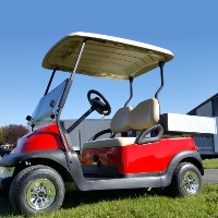 48v Electric Cherry Red Golf Cart w/SS Wheel Covers & Rear Utility Bed w/Light Kit