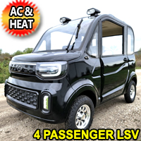 Four Passenger Electric Golf Car Small LSV Low Speed Vehicle Golf Cart 4 Seater 60v Coco Coupe With AC & Heat - White