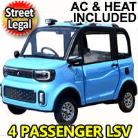 Four Passenger Electric Golf Car Street Legal LSV Low Speed Vehicle Golf Cart 4 Seater 60v Coco Coupe With AC & Heat
