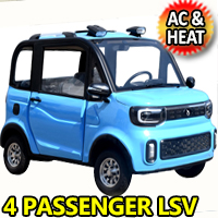 Four Passenger Electric Golf Car LSV Low Speed Vehicle Golf Cart 4 Seater 60v Coco Coupe With AC & Heat