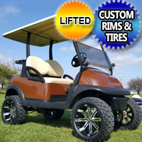 48v Electric Copper Brown Club Car Precedent Golf Cart w/ Custom Wheels