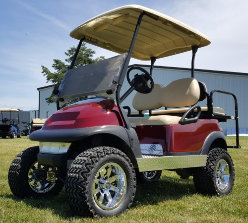 48V Electric Maroon Golf Cart Club Car Precedent W Light Kit Rear Flip Seat