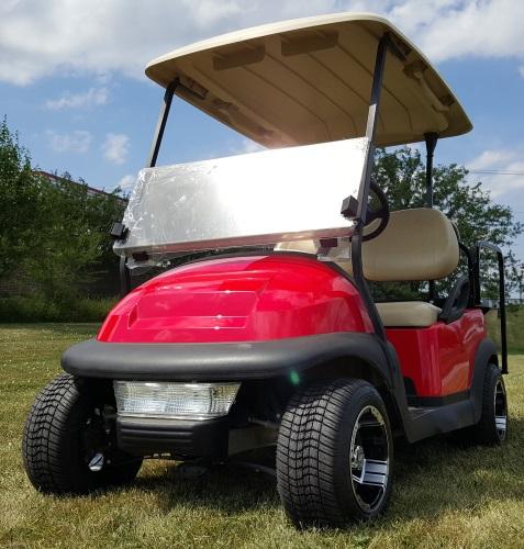 48V Electric Cherry Red Club Car Precedent Golf Cart W Custom Rims Light Kit Rear Flip Seat