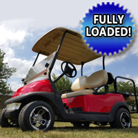 48V Electric Cherry Red Club Car Precedent Golf Cart w/ Custom Rims, Light Kit & Rear Flip Seat