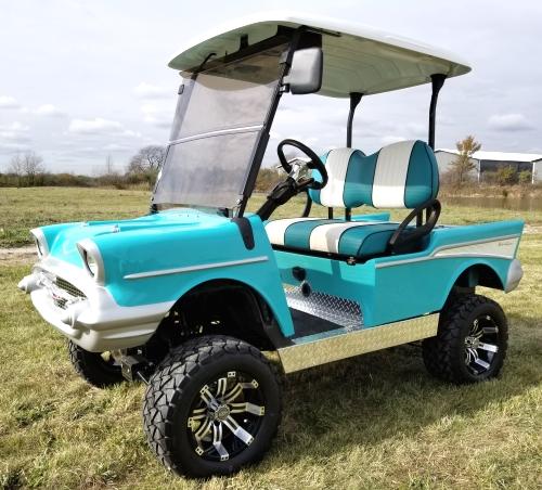 lifted 57 chevy golf cart club car precedent with custom rims radio