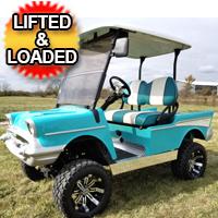 Lifted 57 Chevy Golf Cart Club Car Precedent With Custom Rims, Radio, Seats & More