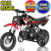 "70cc Dirt Bike Semi Automatic Pit Bike 10"" Tires With Training Wheels - DB-21"