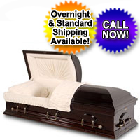 Solid Wood Casket With Dark High Gloss Finish