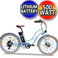 E-Mojo Breeze 500 Watt Step Through Electric 36v 7 Speed Bike Classic Beach Cruiser Mountain Bicycle Scooter