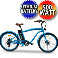 E-Mojo Hurricane 500 Watt Electric 36v Bike Classic Beach Cruiser Mountain Bicycle Scooter