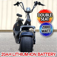 NEW 2000W Double Seat Double Battery Fat Tire CityCoco Scooter Moped 20AH Long Range Lithium Battery - EBWX7S20AH