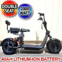 NEW 2000W Double Seat Double Battery Fat Tire CityCoco Scooter Moped 40AH Long Range Lithium Battery - EBWX7S40AH