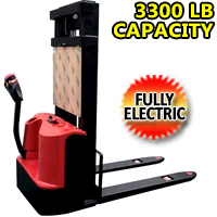 "Fully Electric pallet Walkie Powered Stacker Motorized - 3300LB Capacity - 118"" Lifting - ES-15P"