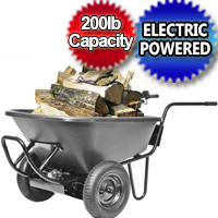 Light Duty Electric Powered Motorized Wheelbarrow - 6cu Feet- 200lb Capacity