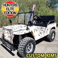 125cc Mini Elite Hunting jeep Mini Gas Golf Cart Utility Vehicle Semi Auto With Reverse & Custom Rims