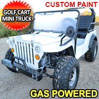 Ice White Mini Gas Golf Cart Jeep ELITE Edition - Lifted With Custom Rims And Fender Flares - Model - Ice White