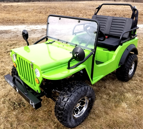 Lime Green Gas Golf Cart Jeep Mini Truck Elite Edition Lifted With Custom Rims And Fender Flares