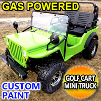 Lime Green Gas Golf Cart jeep Mini Truck ELITE Edition - Lifted With Custom Rims And Fender Flares