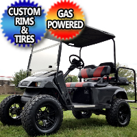 EZ GO Gas TXT Golf Cart Lifted With Rear Flip and Custom Rims & Tires