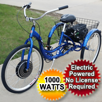 "1000 Watt Electric Powered Tricycle Motorized Trike 26"" Adult Size 3 Wheel Trike Scooter Bicycle"
