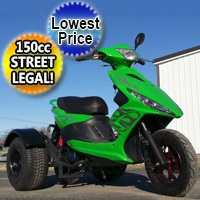 150cc Spiral Trike Scooter Moped