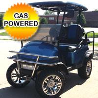 Club Car Precedent Lifted Gas Golf Cart with Black/Blue Seats