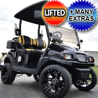48V Electric Phantom Black Golf Cart Club Car Precedent w/ Street Legal Light Kit & Custom Rims