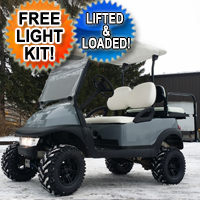 48V Aggressor Gray Lifted Electric Golf Cart Club Car Precedent w/ Light Kit