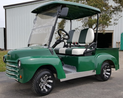 Green 47' Old Truck Custom Club Car Precedent Gas Golf Cart on floating golf game, floating golf hole, floating van, floating generator, floating tank, floating utv, floating golf green,