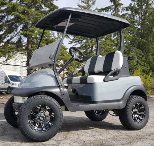 48V Lifted Club Car Precedent Golf Cart Grey With Custom Rims ... on golf cart classifieds, golf cart library, golf cart events, golf cart safety tips, golf cart security, golf cart sports, golf cart transportation, golf cart history, golf cart parking, golf cart traffic, golf cart schools, golf cart police,