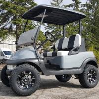 48V Lifted Club Car Precedent Golf Cart Grey With Custom Rims & Tires Custom Seats