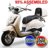 150cc Heritage 4 Stroke Moped Scooter W/ Windshield & Cali Legal