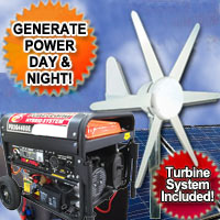 Ultimate Hybrid Power Generator System 4 Source Fuel Option - Solar, Wind, LP & Gas!
