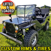 125cc Mini Gas Golf Cart BLAZE Edition Lifted & Loaded With Custom Rims/Tires