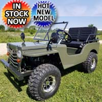 125cc Mini Jeep Crusade Edition Mini Gas Golf Cart Utility Vehicle Go Kart Semi Auto With Reverse & Custom Rims