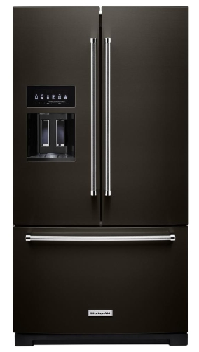 KitchenAid KRFF507HBS Refrigerator 27 cu. ft. Built-In French Door  Refrigerator in PrintShield Black Stainless with Exterior Ice and Water  (Scratch ...