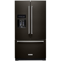 KitchenAid KRFF507HBS Refrigerator 27 cu. ft. Built-In French Door Refrigerator in PrintShield Black Stainless with Exterior Ice and Water (Scratch and Dent Model)