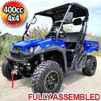 400cc T-BOSS 410 Gas Golf Cart UTV Utility Vehicle 2 Seater 25.5HP 2WD/4WD With Dump Bed - BLUE