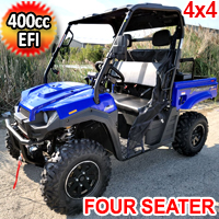 400cc T-BOSS 410 Gas Golf Cart UTV Utility Vehicle 4 Seater 25.5HP 2WD/4WD With Dump Bed - Contender Edition - BLUE