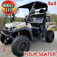 400cc T-BOSS 410 Gas Golf Cart UTV Utility Vehicle 4 Seater 25.5HP 2WD/4WD With Dump Bed - Contender Edition - SAND