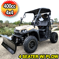 400cc 4x4 UTV 4 Seater With Snow Plow T-BOSS 410 Gas Golf Cart ATV Utility Vehicle 2 Seater 25.5HP 2WD/4WD With Dump Bed