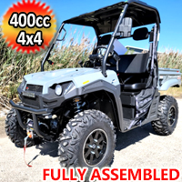 400cc T-BOSS 410 Gas Golf Cart UTV Utility Vehicle 2 Seater 25.5HP 2WD/4WD With Dump Bed - TACTICAL GRAY