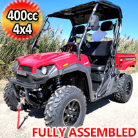 400cc T-BOSS 410 Gas Golf Cart UTV Utility Vehicle 2 Seater 25.5HP 2WD/4WD With Dump Bed - RED