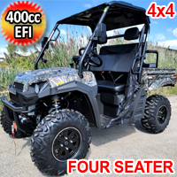 400cc T-BOSS 410 Gas Golf Cart UTV Utility Vehicle 4 Seater 25.5HP 2WD/4WD With Dump Bed - Contender Edition - TREE CAMO