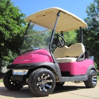 Magenta Pink Club Car 48V Golf Cart With Custom Rims & Tires